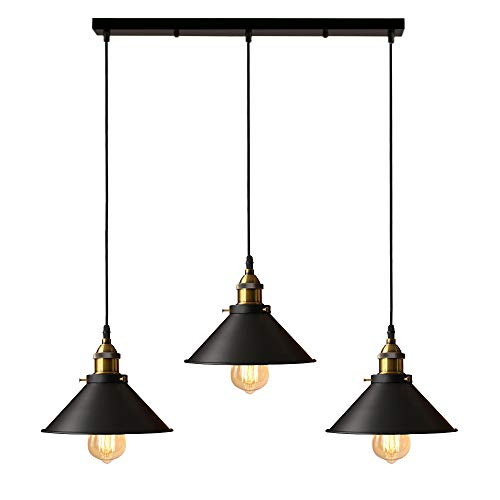 iDEGU Lámpara de Techo Industrial Vintage, Estilo Edison 3 Luces Lámpara Colgante E27 Iluminación Colgante de Interior de Metal para Comedor, Salon, Bar, Café - Ø220MM, Negro