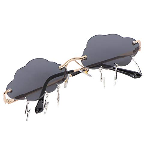 BESTOYARD 1 Pair Novelty Rimless Sunglasses Cloud Shape Punk Eyeglass Prank Halloween Party Eyewear Photo Prop for Girls Women Men Boy(Grey)