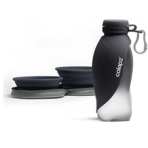 Reiseset - Zwei Faltbare Hundenäpfe mit Hunde Wasserflasche für unterwegs–Reisezubehör für Haustiere und Welpen – Zubehör für Hundespaziergänge - Grau