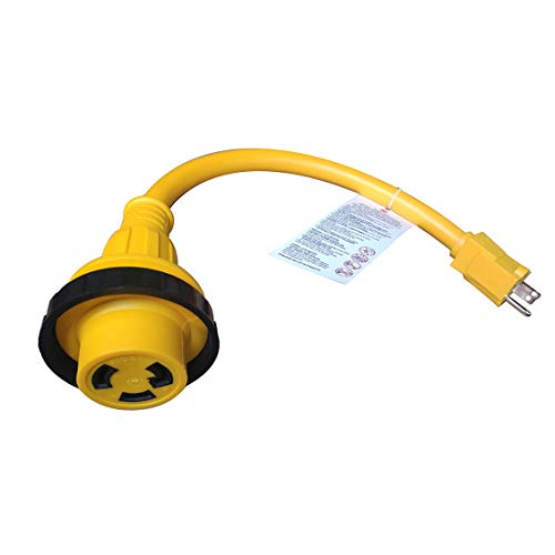 iMeshbean Marine Boat Shore Power Cord Adapter Pigtail Adapter with LED Power Indicator 18 inch (15A 125V to 30A 125V)