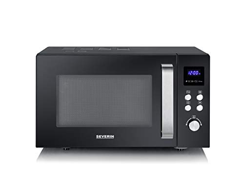 Severin MW 7756 Solo Microwave for Heating, Cooking, Defrosting. Microwave Oven with Turntable for Even Heating. LED Touch Display, Capacity 25 liters, 900 W, Black-Stainless Steel