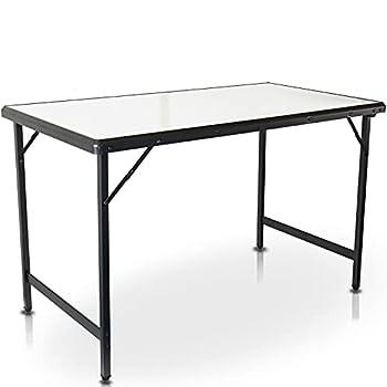 CampAir Table de Camping Taille L - Table Pliante Légère, Blanche, 100% Aluminium (115 x 60 x 71 cm)