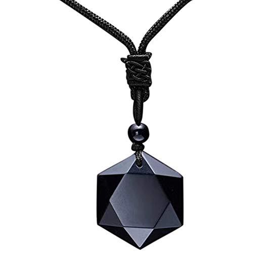 Halskette, Unisex, modisch, natürlicher Energiestein, Hexagramm-Obsidian, Halskette, Schmuck, Geschenk – 1