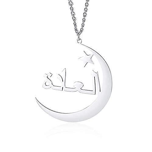 NC190 Collar de Estrella de Luna, Collares con Nombre Personalizado, Placa de Nombre Personalizada de Color Dorado, joyería para Mujeres y Hombres, Regalo