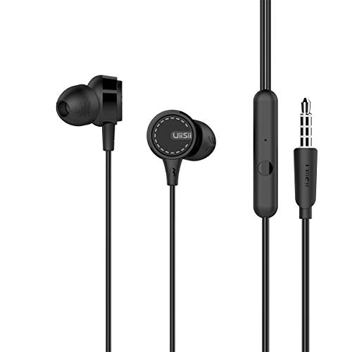 UiiSii Wired Earphones, Earbuds with Mic, in-Ear Headphones for Smartphone Compatible with 3.5 mm Corded Headsets Black