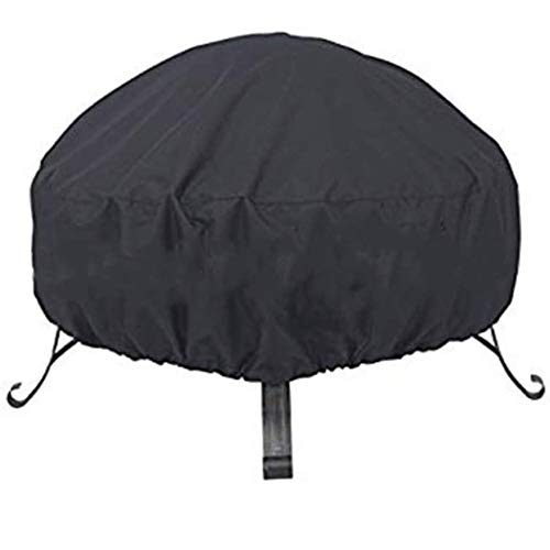 Tongyundacheng Multi-purpose Fire Pit Covers Black Round Fire Pit Cover Waterproof Dust-proof Outdoor Garden Patio Protective Cover with Drawstring for Stove (M: 85x40cm)
