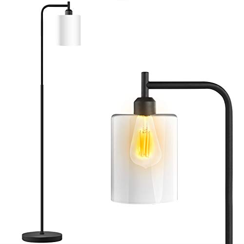 Industrial Floor Lamp - Floor Lamp with White Jade Glass Shade, Bulb Included, Led Floor Lamps for Bedroom, Floor Lamps for Living Room, in-Line On/Off Foot Switch,Matte Black