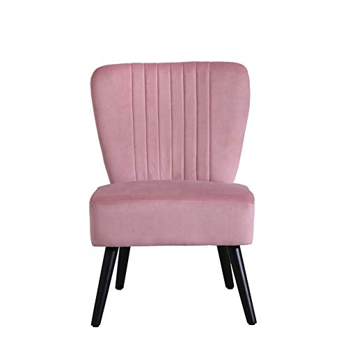 Neo® Crushed Velvet Shell Scallop Accent Occasional Chair Armchair Dining Furniture (Dusky Pink, 1)