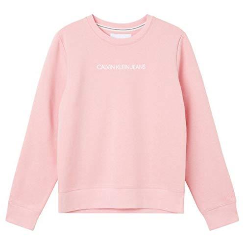Calvin Klein Jeans Shrunken INSTITUTIONAL Crew Neck Maglia di Tuta, Bacca Morbida/Bianco Brillante, X-Small Donna
