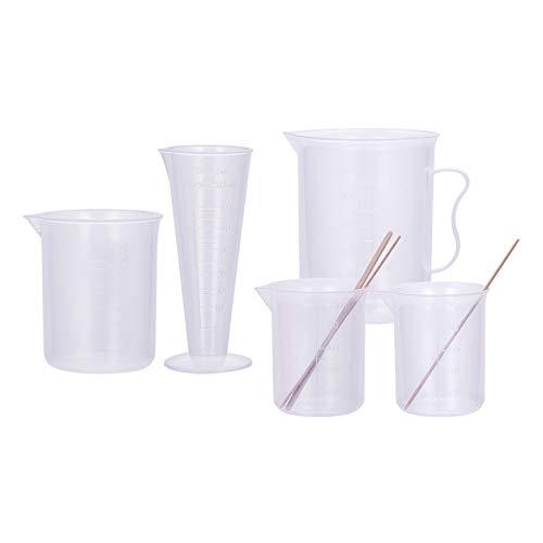 PandaHall - Juego de Vasos medidores (5 tamaños, plástico, Cilindros, Vasos graduados, Cilindros, con 50 Varillas de Madera para Mezclar Pintura, Manchas, epoxi, Resina (50~500ml)