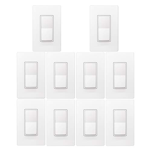 [10 Pack] BESTTEN Single Pole Decorator Wall Light Switch with Screwless Wall Plate, 15A 120/277V, On/Off Rocker Paddle Interrupter, UL Listed, White