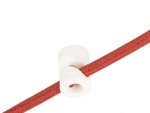 Descentrador en forma de V, gancho de techo o pared, color blanco, para cable eléctrico de tela/textil, fabricado en Italia, paquete de 5 unidades