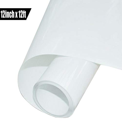 HTV Vinyl Roll Heat Transfer Vinyl 12 Inches x 12 Feet  (White)