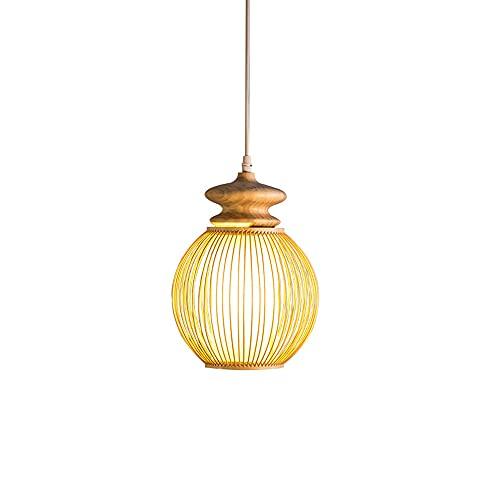KAIKEA Lámpara de araña de bambú de estilo japonés Lámpara colgante de bambú tejida a mano creativa Lámpara de decoración de comedor y dormitorio E27 Portalámparas de una sola cabeza Linterna de bambú