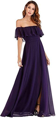 Vestido De Noche De Banquete Femenino Vestido De Dama De Honor De Gasa con Volantes Largos Sin Mangas Vestido De Novia Falda,Dark Purple-US24W