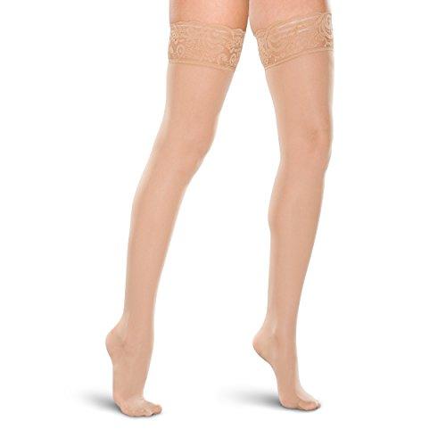 Therafirm Medias altas de encaje para mujer, 15 – 20 mmHg, nailon de compresión suave (natural, XL)