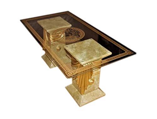 Rechteckiger Glastisch Wohnzimmertisch Tisch Couchtisch Versa Serie Medusa Mäandermuster