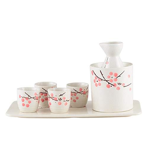 JIASHU Japanisches Sake-Set aus Keramik, mit 1 Sake-Servierflasche, 4 Sake-Becher, 1 Weinkühler und 1 Basis, 7-teilig