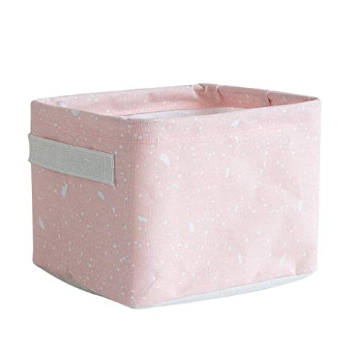 Price comparison product image Fan-Ling Home Fabric Basket Box Storage Ornaments Linen Cosmetic Case Desktop Stationery, Storage Basket for Storing Parts,  Stationery,  Crafts,  Jewelery (Pink)