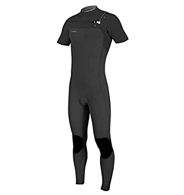 O'Neill Men's Hyperfreak 2mm Chest Zip Short Sleeve Full Wetsuit, Black, Large Tall