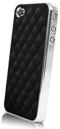 itronik® Leder STEPPLEDER Deluxe HÜLLE Tasche für Apple iPhone 4 4G 4S Luxus Chrome CASE HARDCASE ETUI HÜLLE SCHUTZHÜLLE Cover Bumper SCHWARZ Black