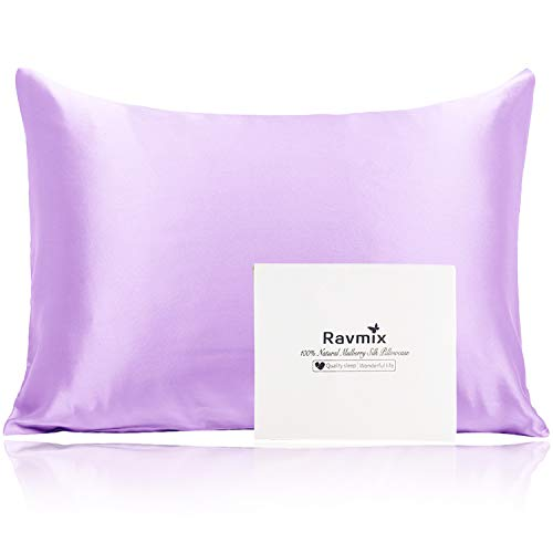 Natural Mulberry Silk Pillowcase for Hair and Skin 21 Momme 600 Thread Count Hypoallergenic Breathable Soft Silk Zippered Pillow Case Standard Size, 2026inches, 1PCS (Lavender)