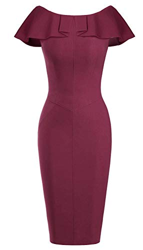 Women's Bodycon Midi Peplum Dress Sheath Long Sleeves Dresses