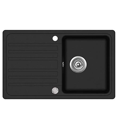 Granit Einbauspüle Küchenspüle Spülbecken Spüle mit Abtropffläche schwarz 76,5 x 46 cm