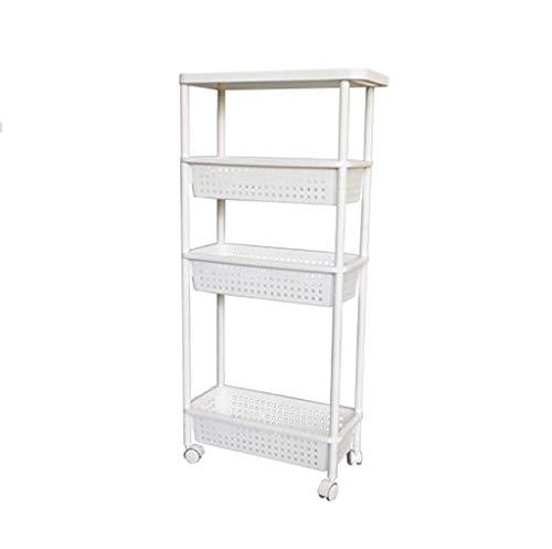 Lw Shelf Estante de almacenamiento de plástico acolchado para el baño, la cocina, 4 pisos, con costuras estrechas, color blanco