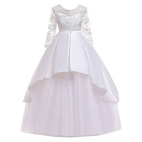 Janly Clearance Sale Falda de vestido para niñas de 0 a 14 años de edad, con lazo, princesa, de encaje, para boda, formal, de tul para 11 a 12 años de Pascua, día de San Patricio (blanco)
