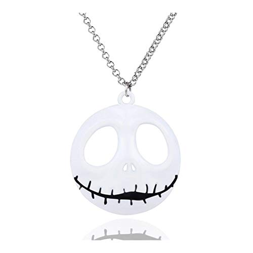 Collar Llamativo Jack Pendientes de la Cabeza del cráneo de los Hombres Collar gótico Mujer niña para (Metal Color : White)