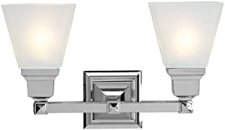 Livex Lighting 1032-05  Mission 2 Light Vanity Polished Chrome with Frosted Glass