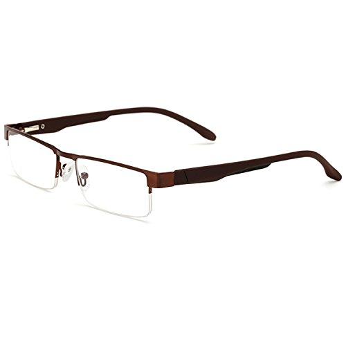 Twinkleyes Lesebrillen Metall Sehhilfe Augenoptik Halbrand Halbrandbrille Brille Lesehilfe für Damen Herren von 1.0 1.5 2.0 2.5 3.0 3.5 4.0 (Braun, 1.5)