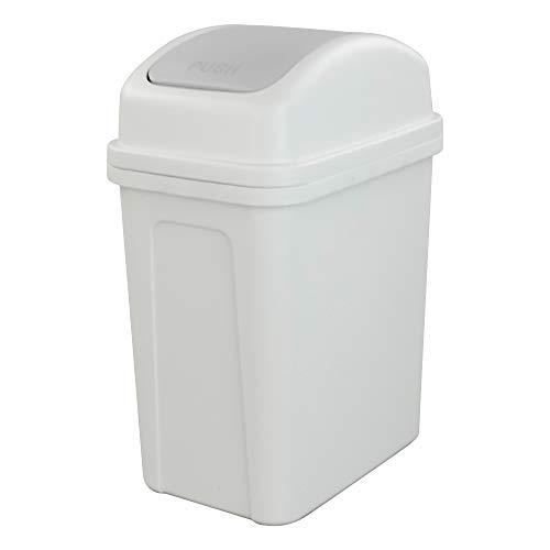 Basurero pequeño de 7 litros con tapa abatible y cubo de basura de plástico, color gris