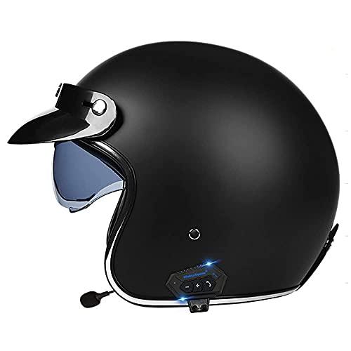 ZWLI Casco de Motocicleta Bluetooth, Casco de Cuero PU 3/4 Motocicleta con Visera Crash Vintage Jet-Helmet Aprobado por ECE para Adultos para Casco de Motociclista Cruiser Scooter Touring (55~64cm)