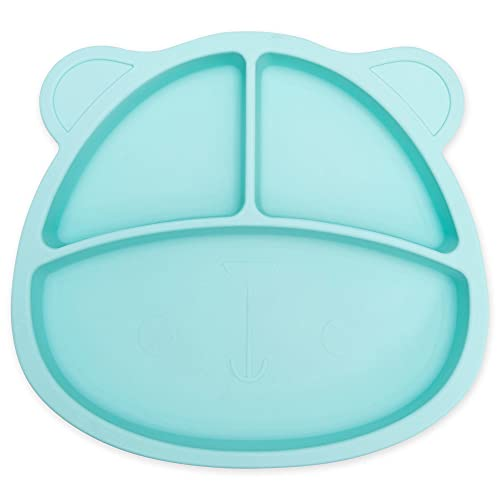 Fun Baby Bear Divided Portion Plates Silicone, Suction Cup Plates for Girls and Boys Toddlers and Babies, Baby Plates, BPA Free, Food Grade Silicone, Baby Weaning Supplies, Green
