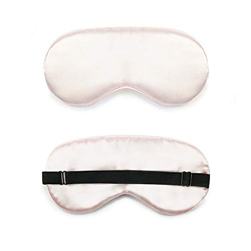 Blindfold - Silk eye mask double-sided solid color natural mulberry silk sleep eye mask for men and women (Size : Light pink)