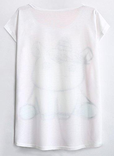 Futurino Women's Summer Colorful Bow Tie Unicorn Print Short Sleeve T-Shirt Tops 8