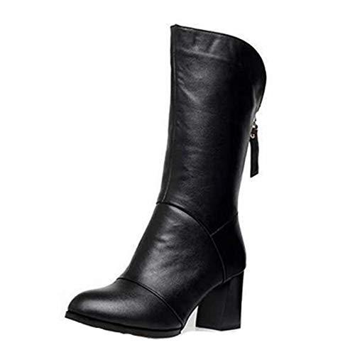 Botas de mujer maduras europeas y americanas botas de mujer otoño e invierno nuevas botas de cuero de tacón alto post-zip-up mujeres además de botas cálidas de terciopelo mujeres 38 Terciopelo negro