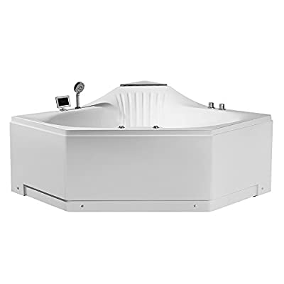 """ARIEL Platinum PW1685959CW1 Whirlpool Bathtub with Jets, 59"""" x 59"""" x 31"""" Inches Triangle Two Person Jetted Hot Tub with Smart Features"""