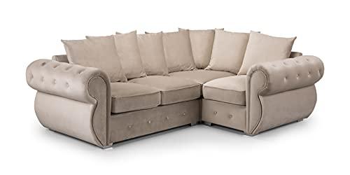 Honeypot - Sofa – Belfast – Scatterback – 4-Sitzer – 3-Sitzer – 2-Sitzer – Sessel – Drehstuhl – Ecksofa – Fußhocker – Plüsch grau – beige (2C1 Ecke rechts, beige).