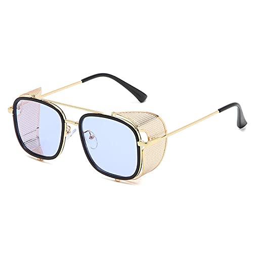 Gafas Steampunk Gafas Metal Flip Personalidad Gafas de sol Hombre Street Shoot-Azul