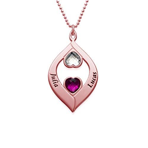 Collana con pendente Birthstone a forma di cuore incisa Collana personalizzata con nome personalizzato da donna(rosa-dorato-base 14)