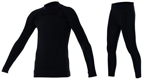 BRUBECK® Thermo Set Kinder/Junior Funktionsunterwäsche-Set | Shirt + Hose | Sportwäsche | Hochwertig | Nahtlos | Thermowäsche | Pflegeleicht (Boy - Deep Black, 140/146)
