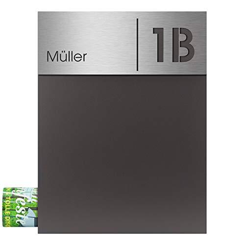 Moderner Briefkasten mit Zeitungsfach anthrazit-eisenglimmer (DB 703) MOCAVI Box 500 Postkasten mit Hausnummer und Name Gravur Edelstahl V4A wetterfest rostfrei groß DIN A4 made in germany