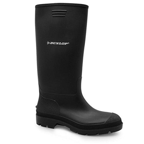 DUNLOP Kinder Jungen Wellington Gummistiefel Wasserdicht Wadenhohe Stiefel Schuh Schwarz 3 (36)