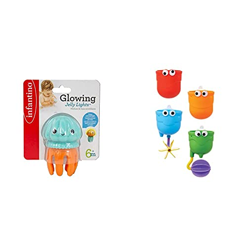 Infantino Glowing Jelly Light Bath Toy & Munchkin Falls Bath Toy with Suction Cups, Multi-Coloured