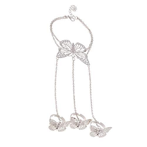 Happyyami Fingerring Armband Hohl Schmetterling Hand Armband Armreif Sklave Kettenglied Schmuck für Frauen Teen Mädchen Besten Freunde Geschenke Silber