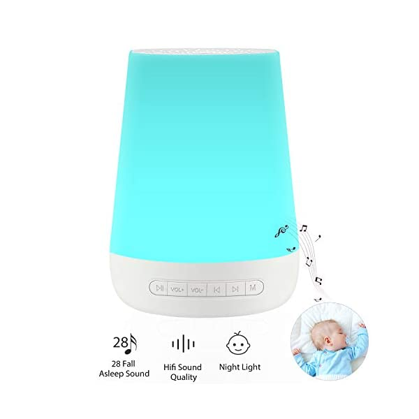 White Noise Machine for Sleeping – VanSmaGo Sleep Sound Machine & Night Light for Baby Kid Adult,Rechargeable Battery,28 HiFi Soothing Sound,32 Volume Control,Timer and Memory,Portable Sleep Therapy