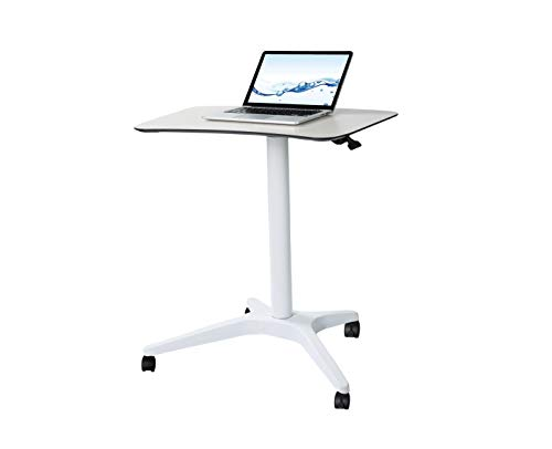 Pneumatic Adjustable Height Laptop Desk, Sit and Stand Mobile, Ergonomic Design, Excellent Computer Workstation for Classrooms, Offices, and Home! 25.5''x18'' CARTMAY(White)